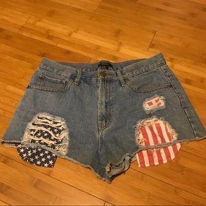 Denim distressed high waisted shorts